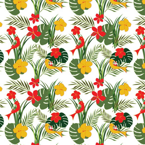 Tropical Birds and Flowers - Floral - fauna- birds - leaves - red - green - gold