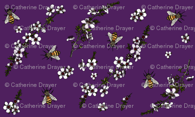 Manuka with bees on rich purple