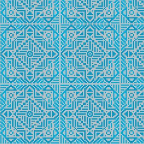 Blue tile with tribal design