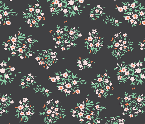 Ditsy Matisse Floral - Charcoal fabric by meganpalmer on Spoonflower - custom fabric