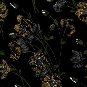 Poppy Floral - Black