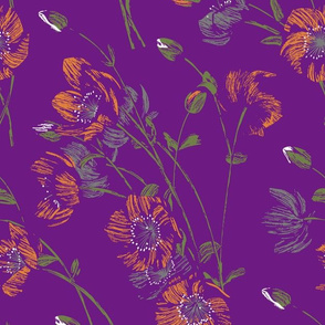 Poppy Floral - Purple