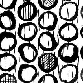 Ink Abstract Geometric Sketches of circles on white