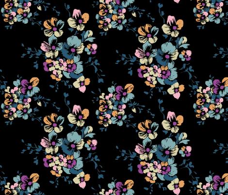 Nancy Floral - Black fabric by meganpalmer on Spoonflower - custom fabric
