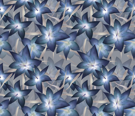 Blue Lily .  fabric by fuzzyfox on Spoonflower - custom fabric