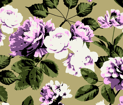 Honolulu Floral - Taupe fabric by meganpalmer on Spoonflower - custom fabric