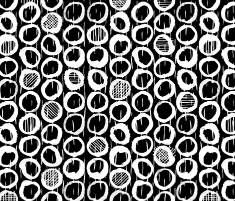 Ink Abstract Geometric Sketches of circles on black fabric by nicoledobbins on Spoonflower - custom fabric