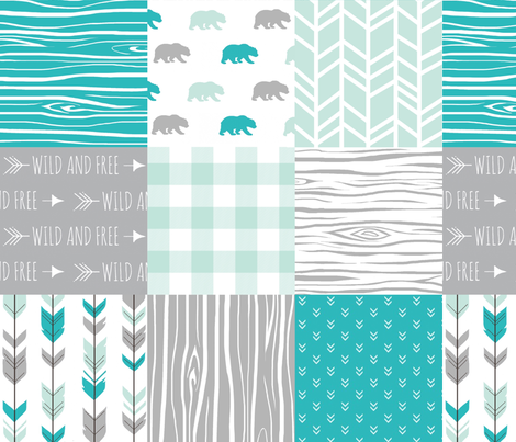 Wholecloth Quilt - Evenstar Bears - teal, grey and mint woodgrain, Plaid and arrows fabric by sugarpinedesign on Spoonflower - custom fabric