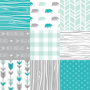 Wholecloth Quilt - Evenstar Bears - teal, grey and mint woodgrain, Plaid and arrows