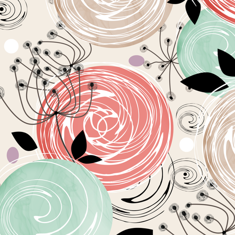 Abstract Roses . fabric by fuzzyfox on Spoonflower - custom fabric
