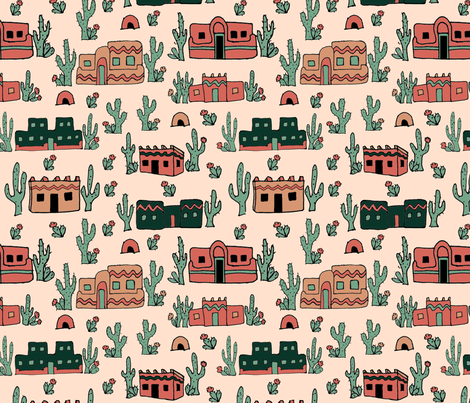 adobe_and_cactus_2 fabric by leroyj on Spoonflower - custom fabric