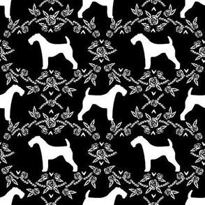 Airedale terrier silhouette florals black