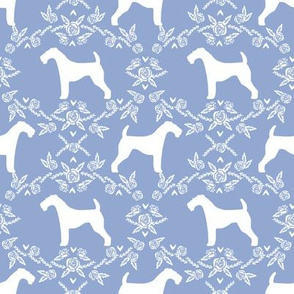 Airedale terrier silhouette florals cerulean