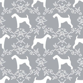 Airedale terrier silhouette florals grey