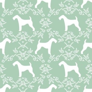 Airedale terrier silhouette florals mint