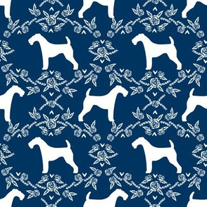 Airedale terrier silhouette florals navy