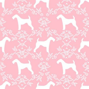 Airedale terrier silhouette florals pink