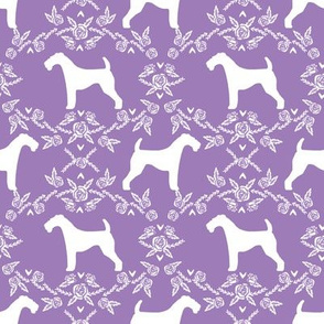 Airedale terrier silhouette florals purple