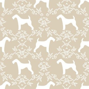 Airedale terrier silhouette florals sand