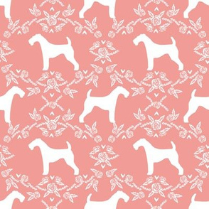 Airedale terrier silhouette florals sweet pink