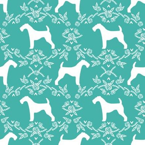 Airedale terrier silhouette florals turquoise