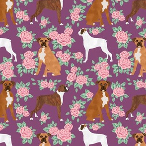 Boxer dog florals fabric pattern rose amethyst