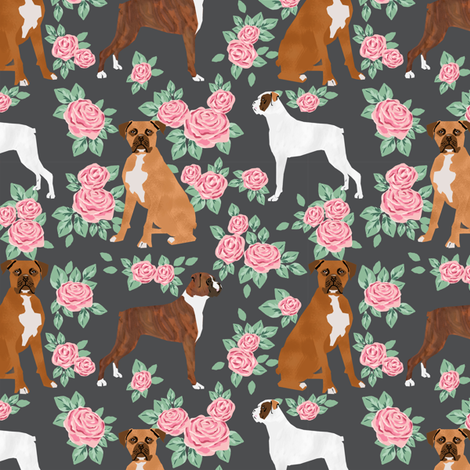 Boxer dog florals fabric pattern rose charcoal fabric by petfriendly on Spoonflower - custom fabric