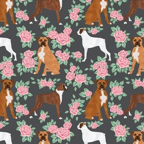 Boxer dog florals fabric pattern rose charcoal