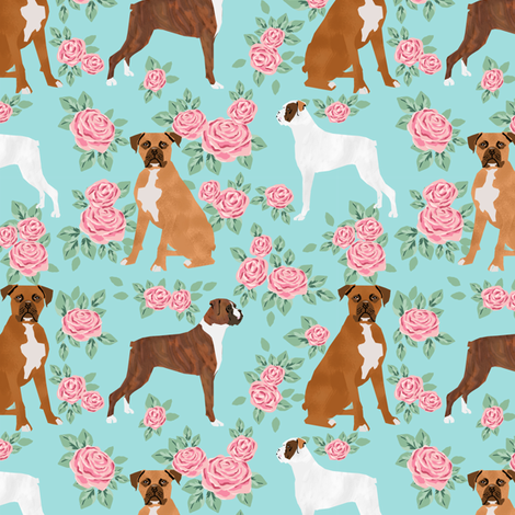 Boxer Dog Florals Fabric Pattern Rose Fabric Petfriendly