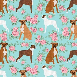 Boxer dog florals fabric pattern rose