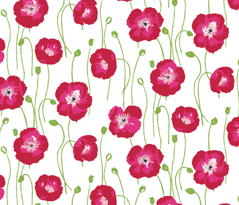 poppies -red fabric by jillbyers on Spoonflower - custom fabric