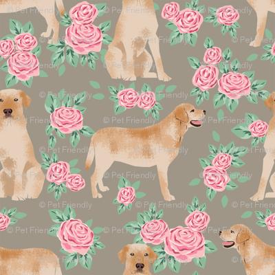 Yellow Labrador Retriever florals rose brown