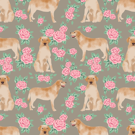 Yellow Labrador Retriever florals rose brown fabric by petfriendly on Spoonflower - custom fabric