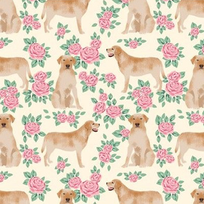 Yellow Labrador Retriever florals rose cream