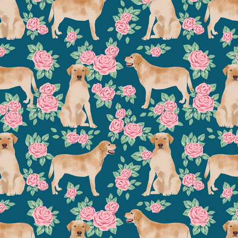 Yellow Labrador Retriever florals rose sapphire fabric by petfriendly on Spoonflower - custom fabric