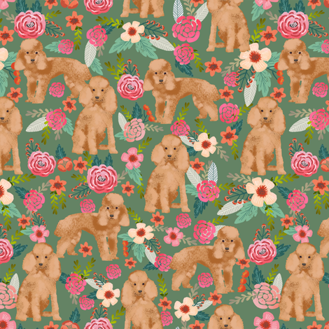 toy poodle fabric apricot toy poodle and florals design - med green fabric by petfriendly on Spoonflower - custom fabric
