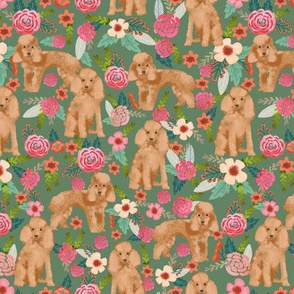 toy poodle fabric apricot toy poodle and florals design - med green