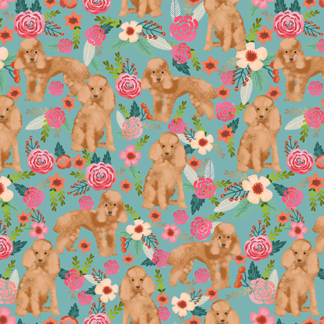 toy poodle fabric apricot toy poodle and florals design - gulf blue fabric by petfriendly on Spoonflower - custom fabric
