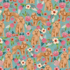 toy poodle fabric apricot toy poodle and florals design - gulf blue