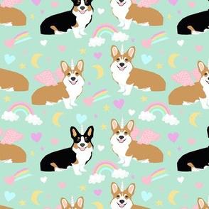 corgi fabric tri colored corgi unicorns pastel mint cute dog fabric