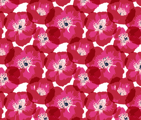Big Poppies - Red fabric by jillbyers on Spoonflower - custom fabric