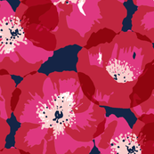 Big Poppies - Red on Indigo