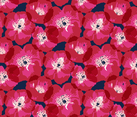 Big Poppies - Red on Indigo fabric by jillbyers on Spoonflower - custom fabric