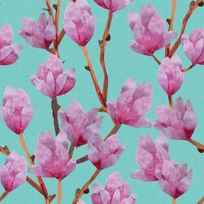 Paper Cut Magnolias - Aquamarine