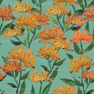 Paper Cut Chrysanthemums - Sea Green