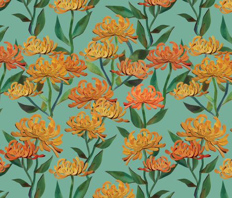 Paper Cut Chrysanthemums - Sea Green fabric by ceciliamok on Spoonflower - custom fabric