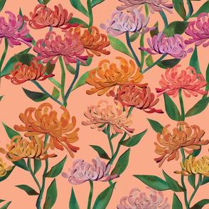 Paper Cut Chrysanthemums - Peach