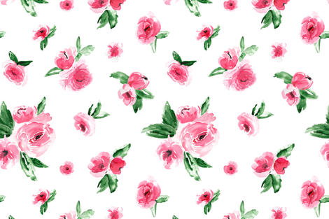 Watercolor Floral Pink Large fabric by northeighty on Spoonflower - custom fabric