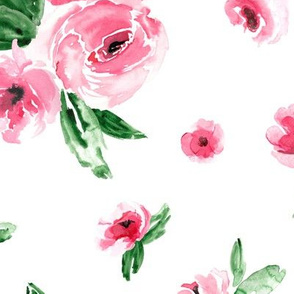 Watercolor Floral Pink Large