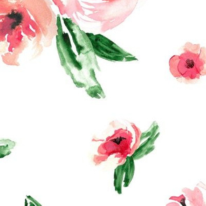 Watercolor Floral Coral Large